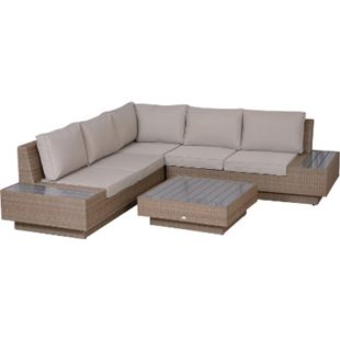 Outsunny Luxus Polyrattan Loungeset beige | Sitzgruppe Gartengarnitur Loungemöbel mit Tisch - Bild 1