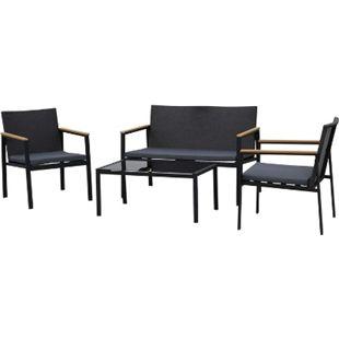 Outsunny Polyrattan Sitzgruppe als 4-teiliges Set schwarz, grau | Gartenset Gartenmöbel Rattanmöbel Rattanset - Bild 1