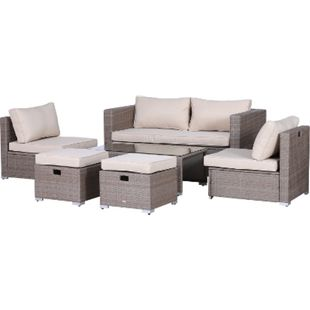 Outsunny Rattan Gartensitzgruppe als 6-teiliges Set khaki, beige | Gartengarnitur Sitzgruppe Rattanset Polyrattanmöbel - Bild 1
