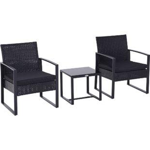 Outsunny Polyrattan Sitzgruppe als 5-tlg. Set schwarz | Gartenset Gartenstuhl Sitzgarnitur Rattanset - Bild 1