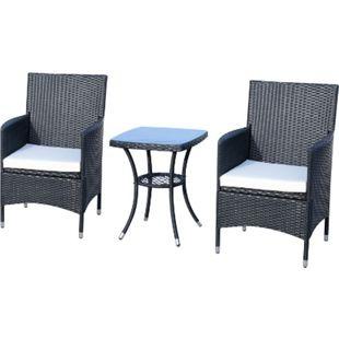 Outsunny Rattan-Sitzgruppe als 3-teiliges Set | Gartensitzgruppe mit Beistelltisch, Rattenmöbel - Bild 1