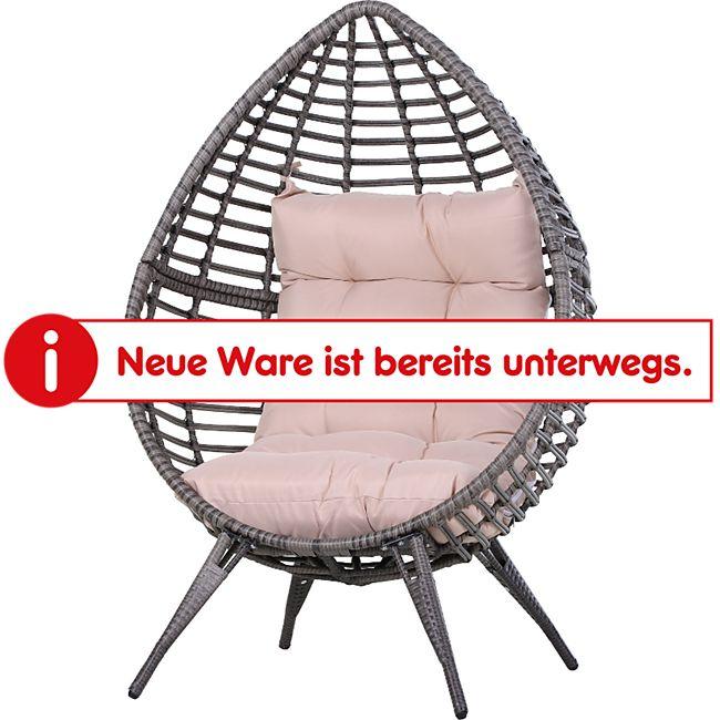 Outsunny Gartensessel mit Sitzkissen grau/beige 101 x 89 x 156 cm (BxTxH) | Sessel in Tropfenform Rattansessel Rattanstuhl - Bild 1