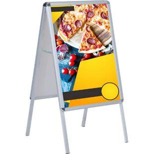 HOMCOM Kundenstopper mit einer Antireflexbeschichtung silber, weiß 68 x 8 x 121 cm (BxTxH) | Plakatständer Werbeaufsteller Gehwegaufsteller - Bild 1