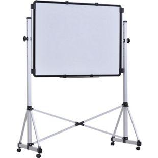 Vinsetto Mobiles Whiteboard magnetisch weiß 143 x 65,5 x 160-200 cm (BxTxH) | Doppelseitige Magnettafel Memoboard mit Stiftablage - Bild 1