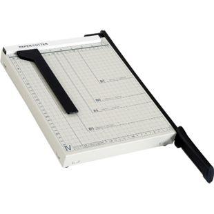 HOMCOM Papierschneidemaschine bis DIN A4 weiß, schwarz 48 x 26,5 x 5 cm (LxBxH) | Hebelschneider Papierschneider Papierschneidegerät - Bild 1