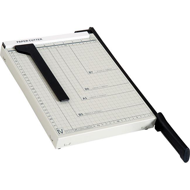 HOMCOM Papierschneidemaschine bis DIN A4 weiß, schwarz 48 x 26,5 x 5 cm (LxBxH)   Hebelschneider Papierschneider Papierschneidegerät - Bild 1