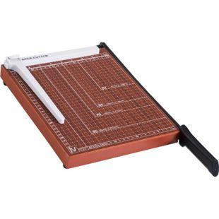 HOMCOM Papierschneider bis DIN A4 braun 48 x 26,5 x 5 cm (LxBxH) | Papierschneidemaschine Papierschneidegerät Büro - Bild 1
