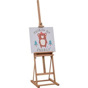 Vinsetto Atelierstaffelei mit Ablage natur 53 x 50,5 x 171-230 cm (BxTxH) | Holzstaffelei Leinwandständer Bilderständer Clipboard - Bild 1