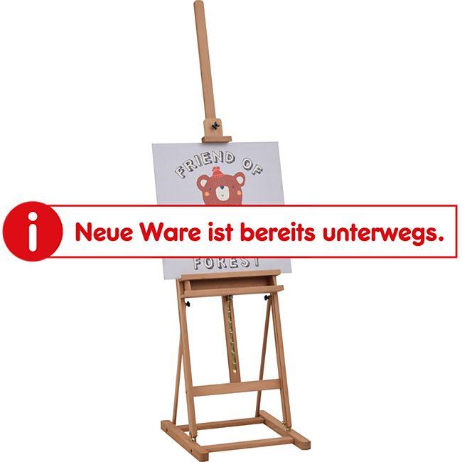 Vinsetto Atelierstaffelei mit Ablage natur 53 x 50,5 x 171-230 cm (BxTxH)   Holzstaffelei Leinwandständer Bilderständer Clipboard - Bild 1