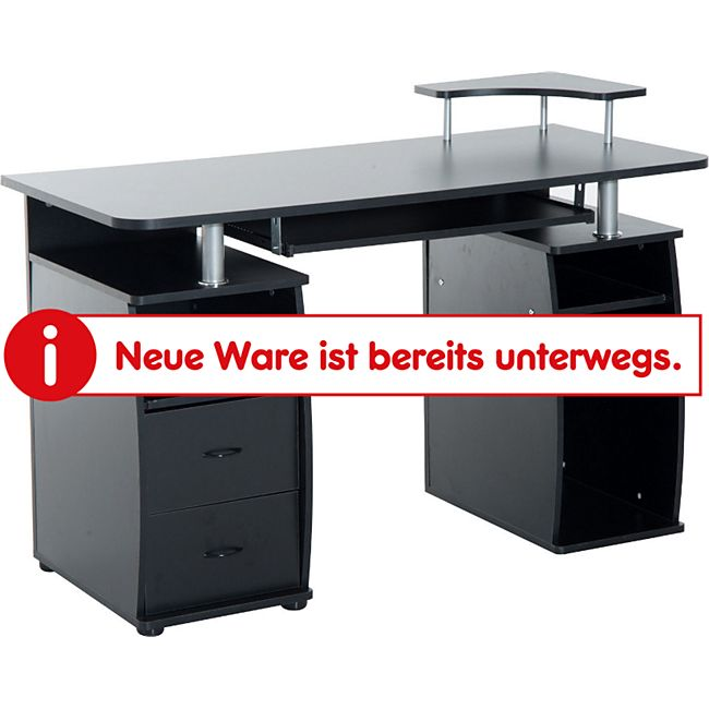 HOMCOM Computertisch mit Druckerablage schwarz 120 x 60 x 87 cm (LxBxH) | Schreibtisch Bürotisch Computerschreibtisch Tisch - Bild 1