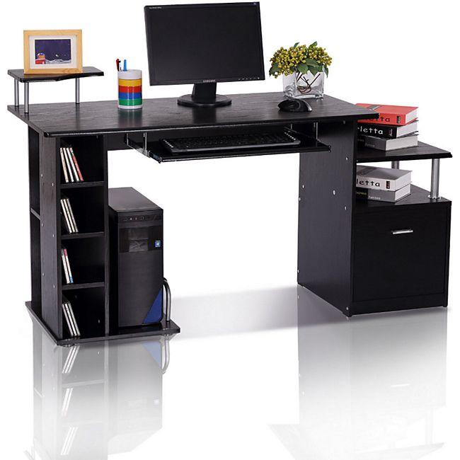 HOMCOM Computertisch in Nussbaum-Nachbildung schwarz 152 x 60 x 88 cm (LxBxH) | Schreibtisch Bürotisch Arbeitstisch Kombitisch - Bild 1