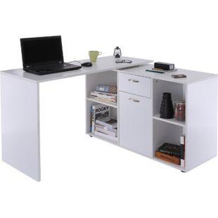 HOMCOM Eckschreibtisch mit Büroschrank | Computertisch Bürotisch in L-Form Winkelschreibtisch - Bild 1