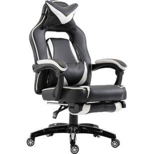 Vinsetto Chefsessel mit Fußstütze weiß, schwarz 65 x 70 x 115-122 cm (BxTxH) | Bürosessel Sportsitz Bürostuhl Relaxsessel - Bild 1