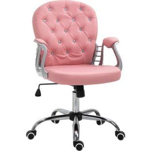 Vinsetto Drehstuhl im eleganten Design rosa 59,5 x 60,5 x 95-105 cm (LxBxH) | Chefsessel Bürostuhl Schreibtischstuhl Computerstuhl - Bild 1