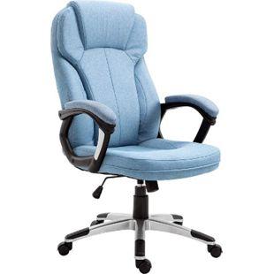 Vinsetto Bürostuhl mit Wippfunktion hellblau 66 x 75 x 110-120 cm (BxTxH) | Schreibtischstuhl Computerstuhl Drehstuhl PC-Stuhl - Bild 1