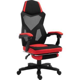 Vinsetto Gamingstuhl mit Fußstütze schwarz, rot 58 x 72 x 108-118 cm (BxTxH) | Bürostuhl Drehstuhl Chefsessel Computerstuhl - Bild 1