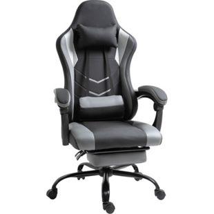 Vinsetto Gamingstuhl mit Fußstütze schwarz 52 x 64 x (122-128) cm (BxTxH)   Bürostuhl PC-Stuhl Drehstuhl Chefsessel Stuh