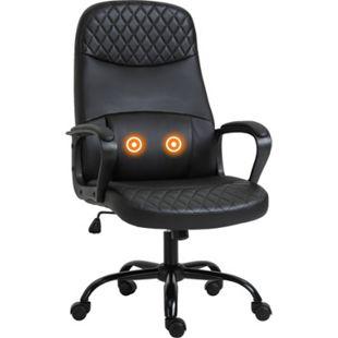 Vinsetto Bürostuhl mit Massagefunktion schwarz 60 x 70 x 106-115 (BxTxH) | Schreibtischstuhl Gamingstuhl Drehstuhl Massagestuhl - Bild 1