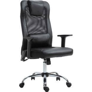 Vinsetto Bürostuhl inkl. Lendenkissen mit Vibrationsmassage schwarz 63 x 63 x 113-123 cm (BxTxH) | Schreibtischstuhl Computerstuhl Drehstuhl PC-Stuhl - Bild 1