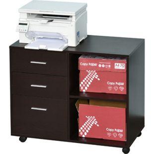 HOMCOM Aktenschrank mit Rollen braun 80 x 40 x 65 cm (BxTxH) | Aufbewahrungsregal Büromöbel Aktenregal Büroschrank - Bild 1