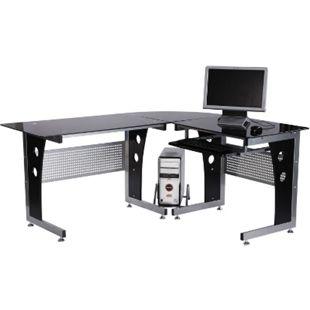 HOMCOM Eckschreibtisch mit Sicherheitsglas schwarz 164 x 139 x 75 cm (LxBxH) | Computertisch Bürotisch Schreibtisch Glastisch - Bild 1