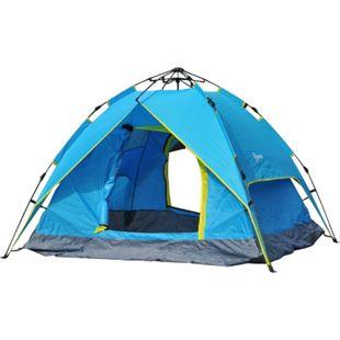 Outsunny Campingzelt für 3-4 Personen blau, gelb 200 x 200 x 135 cm (LxBxH) | Pop Up Zelt Multifunktionszelt Sonnenschutz Zelt - Bild 1