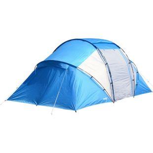 Outsunny Tunnelzelt mit 2 Schlafkabinen blau, weiß 460 x 230 x 195 cm (LxBxH) | Campingzelt Familienzelt Gruppen-zelt Iglu-Zelt - Bild 1