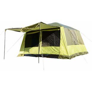Outsunny Familienzelt für 4-8 Personen gelbgrün 410 x 310 x 225 cm (LxBxH) | Campingzelt Kuppelzelt Schlafkabine Vorzelt - Bild 1