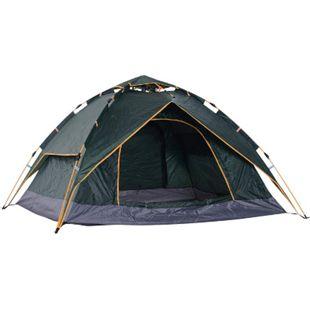 Outsunny Quick-Up-Zelt für 2 Personen + 1 Kind dunkelgrün 210 x 210 x 140 cm (LxBxH) | Outdoorzelt Doppelzelt Familienzelt Campingzelt - Bild 1