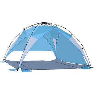 Outsunny Strandmuschel für 3-4 Personen hellblau 250 x 250 x 155 cm (LxBxH)   Pop up Zelt Outdoorzelt Strandzelt Gartenmuschel - Bild 1