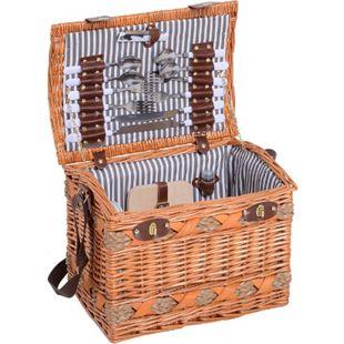 Outsunny Picknickkorb für 4 Personen braun, grau, weiß 36 x 24 x 27 cm (LxBxH) | Picknickkoffer Picknickset Weidenkorb mit Käsebrett - Bild 1
