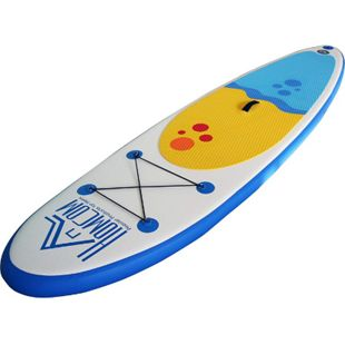 HOMCOM Aufblasbares Surfbrett mit Paddel weiß, blau 305 x 76 x 10 cm (LxBxH) | Surfboard inkl. Ausrüstung Board aufblasbar Strand - Bild 1