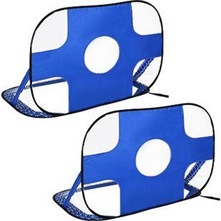 HOMCOM Fußballtor im 2er Set blau 123 x 80 x 80 cm (BxTxH)   Tragbares Fußballnetz Minitor faltbares Fußballtor - Bild 1