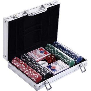 HOMCOM Pokerkoffer mit 200 Chips silber 29,5 x 20,5 x 6,5 cm (LxBxH) | Pokerchips Poker-Komplettset Pokerkarten Kasino - Bild 1