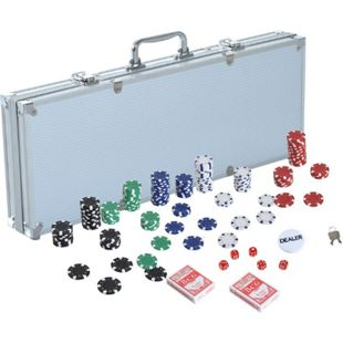 HOMCOM Pokerkoffer inklusive Pokerset silber 55.5 x 22 x 6.5 cm (LxBxH) | Pokerchips Poker Set Pokerkarten Jetons Koffer - Bild 1