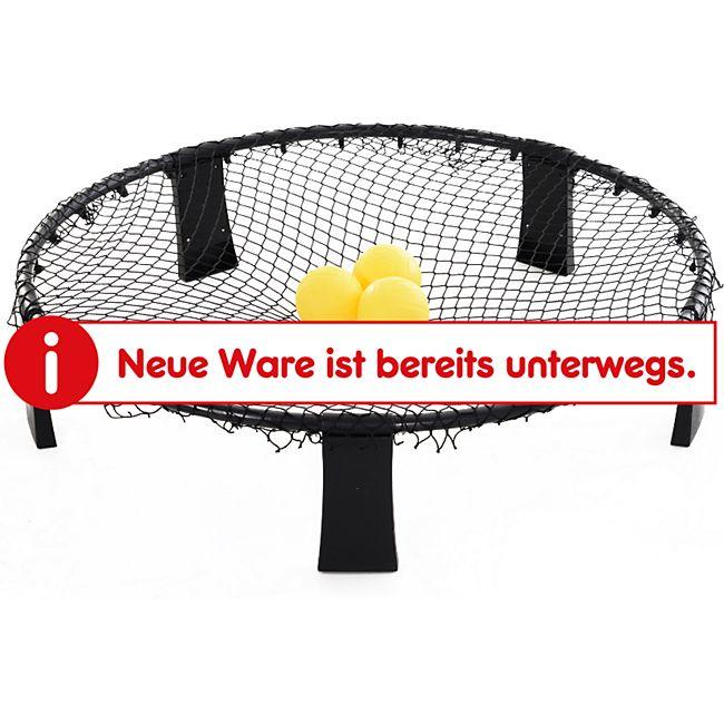 HOMCOM Spikeball mit 3 Bällen schwarz, gelb 90 x 90 x 20 cm (LxBxH) | Ballspielset mit Tragetasche mini Volleyball Roundnet - Bild 1