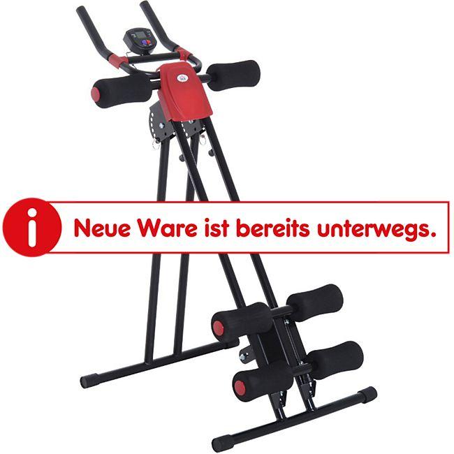 HOMCOM Bauchtrainer mit LED Display schwarz, rot 90 x 54 x 93 cm (LxBxH) | Heimtrainer Rücken Fitnessgerät mit Muskeltrainer - Bild 1