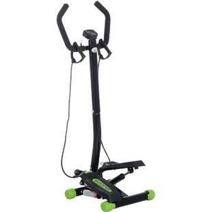 HOMCOM Sidestepper mit Haltegriff schwarz, grün 40 x 48 x 118 cm (LxBxH) | Fitnessgerät Stepptrainer Heimtrainer Swing Stepper - Bild 1