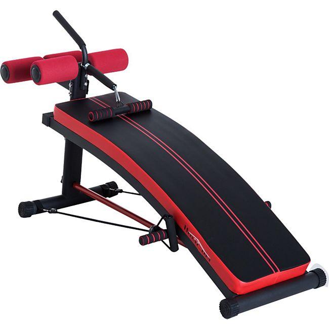HOMCOM Sit-Up-Bank mit Trainingsbändern schwarz, rot 140 x 73 x 57 cm (LxBxH) | Bauchtrainer Trainingsbank Rückentrainer Schrägbank - Bild 1