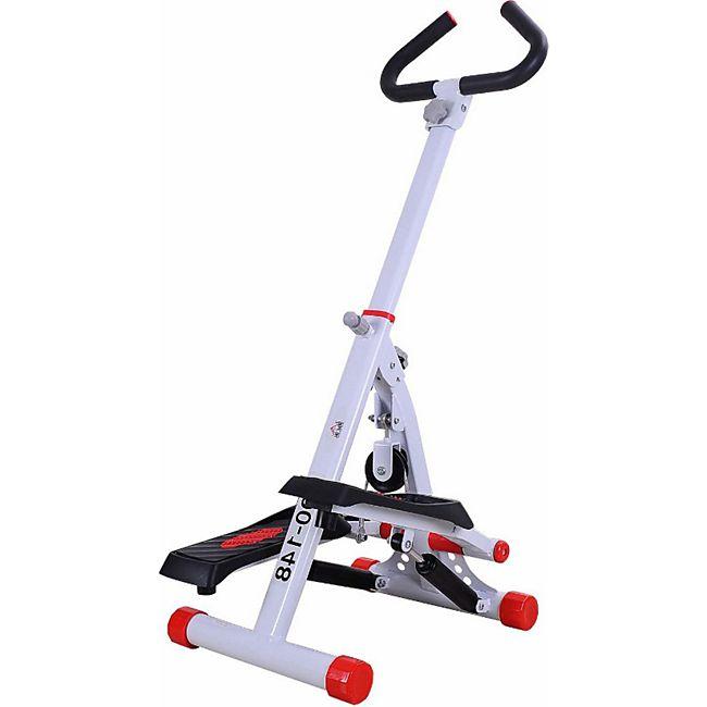 HOMCOM Sidestepper mit Haltegriff weiß,rot 49 x 37,5 x 110 cm (LxBxH) | Stepper Heimtrainer Fitnessgerät Crosstrainer - Bild 1