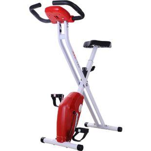 HOMCOM Fitnessfahrrad mit Display weiß/rot 83 x 43 x 110 cm (LxBxH) | Heimtrainer Ergometer Hometrainer fitnessbike - Bild 1