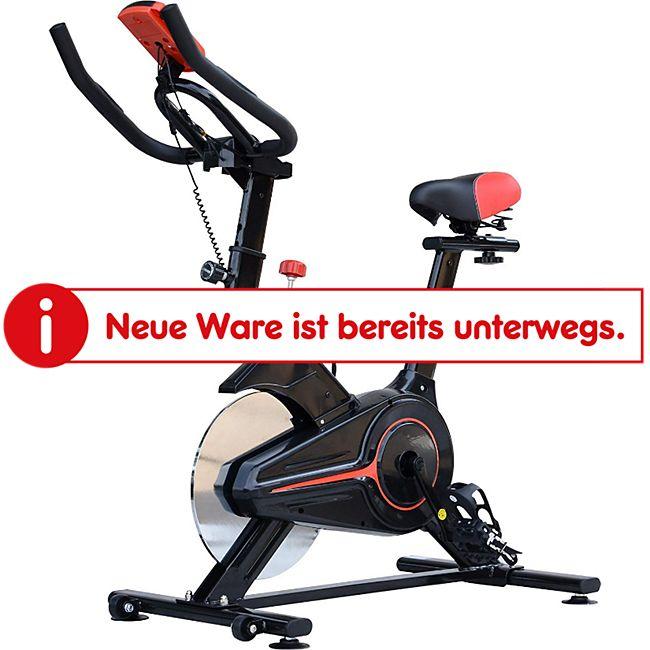 HOMCOM Fitnessfahrrad mit LCD-Monitor schwarz 102 x 47 x 104 cm (LxBXH) | Heimtrainer Bike Trainer Home Gym Indoor Cycling - Bild 1
