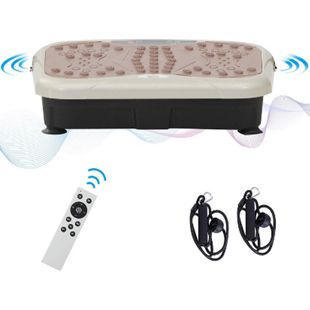 HOMCOM Vibrationstrainer mit USB-Lautsprecher schwarz, beige, braun 54 x 33 x 14 cm (LxBxH) | Vibrationsplatte Vibrationsgerät Fitnesstrainer - Bild 1