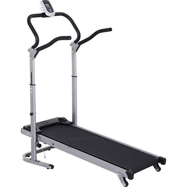 HOMCOM Laufband mit LCD-Display schwarz, silber 123 x 58,5 x 115-140 cm (LxBxH) | Aerobic-Training Fitnessgerät Ausdauer Sport - Bild 1