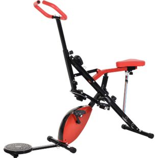 HOMCOM Heimtrainer mit LCD-Display und Magnetwiderstand rot, schwarz 151 x 51,5 x 127–142,5 cm  (LxBxH) | Fahrradtrainer Fitness-Scheibe Rollentrainer - Bild 1