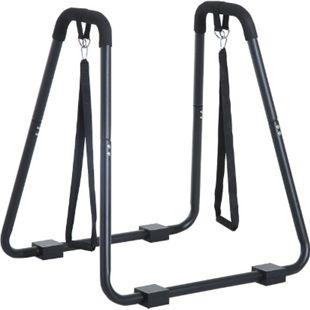 HOMCOM Dipstation mit Schlingentrainer schwarz 90 x 81 x 96,5 cm (LxBxH) | Dipper Ständer Dipstange Bauchtrainer Hometrainer - Bild 1