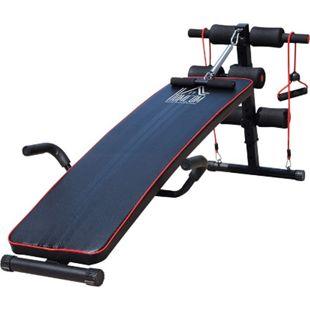 HOMCOM Sit-Up-Bank mit Widerstandsbänder schwarz, rot 135 x 56,5 x (50–68) cm (LxBxH) | Bauchtrainer Trainingsbank Heimtrainer Fitnessbank - Bild 1