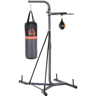 HOMCOM Boxsackständer mit Punchingball schwarz 104 x 156 x 202 cm (BxTxH) | Boxsackhalterung Kraftsport Trainingsgerät Boxen - Bild 1