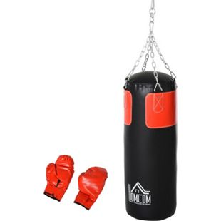 HOMCOM Boxsack mit Boxhandschuhen schwarz, rot 30 x 120 cm (ØxH) | Boxassistent Boxsack Standboxsack Boxtraining - Bild 1
