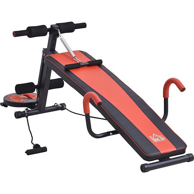 HOMCOM Sit-Up-Bank verstellbar rot, schwarz 166 x 53 x 52-60 cm (LxBxH)   Bauchtrainer Trainingsbank Heimtrainer Fitnessgerät - Bild 1
